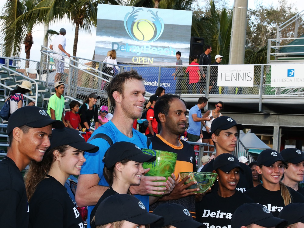 Delray Beach, Florida, 2016, Delray Beach Open Singles Champion Sam Querrey and Finalist Rajeev Ram with Trophies and Ball Kids