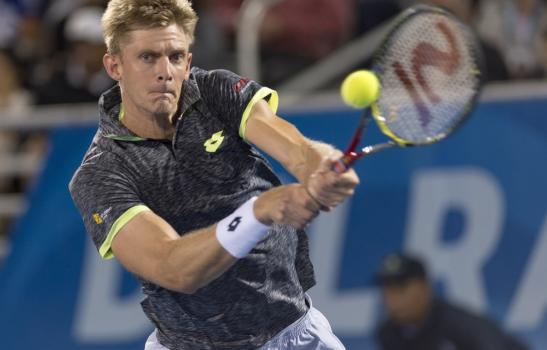 DELRAY BEACH, FL- February 21: Kevin Anderson(RSA) in action here, loses 46 46 toJuan Martin Del Potro(ARG) at the 2017 Delray Beach Open an ATP 250 event in held in Delray Beach, Florida.