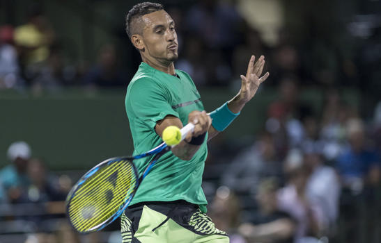 MARCH, 28 - MIAMI, FL: Nick Kyrgios(AUS) plays David Goffin (BEL) at the  2017 Miami Open tennis match on March 28, 2017, at the Tennis Center at Crandon Park in Key Biscayne, FL.