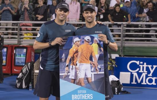 "Delray Beach, FL - February 21: Bryan Brothers get inducted into the Delray Beach Open ""Walk of Fame"" after defeating the team of Kozlov and Fritz 75 60 during their opening round at the 2018 Delray Beach Open held at the Delray Beach Tennis Center in Delray Beach, Florida."