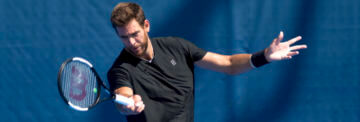 February, 18 – Delray Beach: Juan Martin Del Potro(ARG) practices before the start of the 2019 Delray Beach Open by Vitacost.com in Delray Beach, FL.