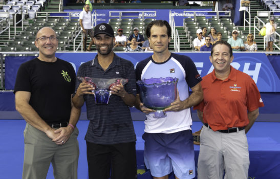 February, 16 - Delray Beach: Tommy Haas(GER) and James Blake(USA) accept their trespective trophies after the Europe Team defeated the World Team during the Champions Tour at the 2020 Delray Beach Open by Vitacost.com in  Delray Beach, Florida.