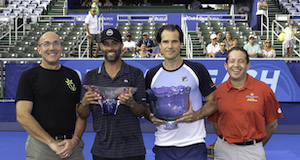 February, 16 – Delray Beach: Tommy Haas(GER) and James Blake(USA) accept their trespective trophies after the Europe Team defeated the World Team during the Champions Tour at the 2020 Delray Beach Open by Vitacost.com in  Delray Beach, Florida.
